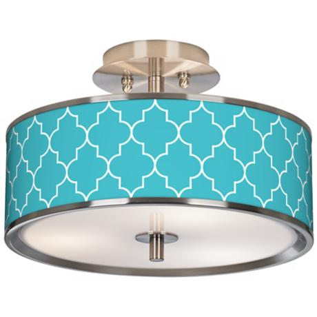 "Tangier Blue Giclee Glow 14"" Wide Ceiling Light"