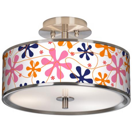 "Retro Pink Giclee Glow 14"" Wide Ceiling Light"