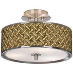 "Tan Wailia Giclee Glow 14"" Wide Ceiling Light"