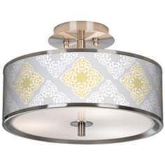 "Aster Grey Giclee Glow 14"" Wide Ceiling Light"