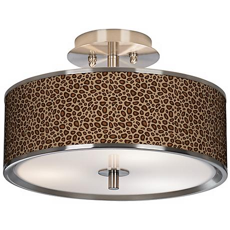 "Safari Leopard Giclee Glow 14"" Wide Ceiling Light"