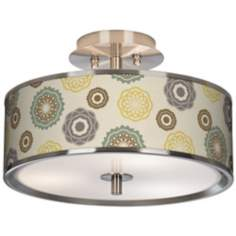 "Ornaments Linen Giclee Glow 14"" Wide Ceiling Light"