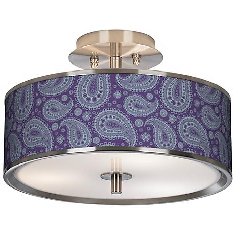 "Purple Paisley Linen Giclee Glow 14"" Wide Ceiling Light"