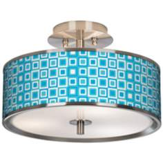 "Blue Boxes Linen Giclee Glow 14"" Wide Ceiling Light"