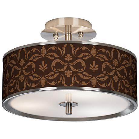 "Mocha Flourish Linen Giclee Glow 14"" Wide Ceiling Light"