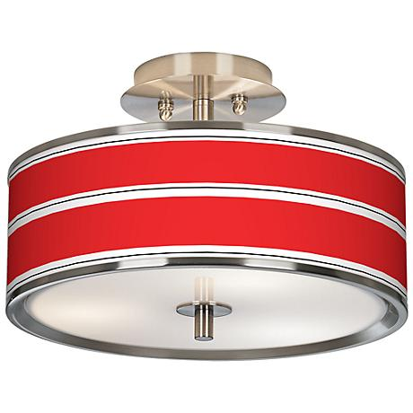 "Red Stripes Giclee Glow 14"" Wide Ceiling Light"