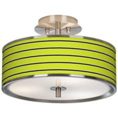 "Bold Lime Green Stripe Giclee Glow 14"" Wide Ceiling Light"