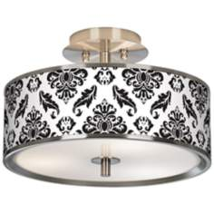 "Black Filigree Giclee Glow 14"" Wide Ceiling Light"