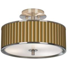 "Umber Stripes Giclee Glow 14"" Wide Ceiling Light"