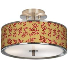 "Crimson Coral Giclee Glow 14"" Wide Ceiling Light"