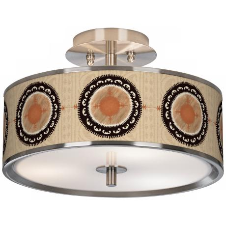 "Travelers Compass Giclee Glow 14"" Wide Ceiling Light"