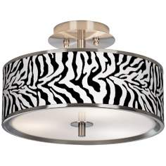 "Safari Zebra Giclee Glow 14"" Wide Ceiling Light"
