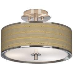 "Woven Reed Giclee Glow 14"" Wide Ceiling Light"