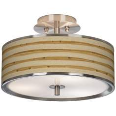 "Bamboo Wrap Giclee Glow 14"" Wide Ceiling Light"