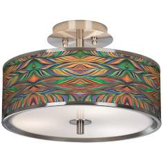 "Exotic Peacock Giclee Glow 14"" Wide Ceiling Light"