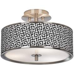 "Greek Key Giclee Glow 14"" Wide Ceiling Light"