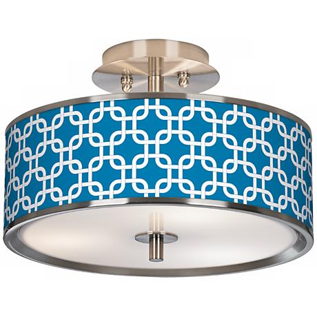 "Blue Lattice Giclee Glow 14"" Wide Ceiling Light"