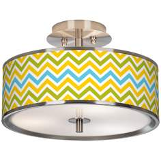 "Citrus Zig Zag Giclee Glow 14"" Wide Ceiling Light"