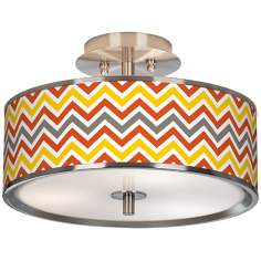 "Flame Zig Zag Giclee Glow 14"" Wide Ceiling Light"