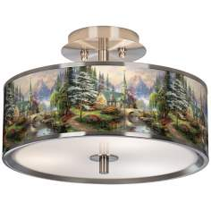 "Thomas Kinkade Dogwood Chapel 14"" Giclee Ceiling Light"