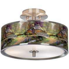 "Thomas Kinkade Friendship Cottage 14"" Giclee Ceiling Light"