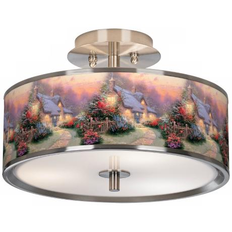 "Thomas Kinkade Glory of Evening 14"" Giclee Ceiling Light"