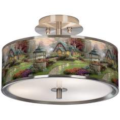 "Thomas Kinkade Make a Wish Cottage 14"" Giclee Ceiling Light"