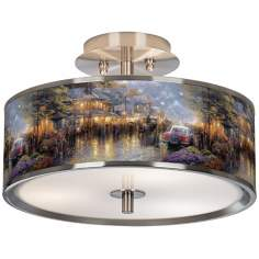 "Thomas Kinkade Mountain Memories 14"" Giclee Ceiling Light"