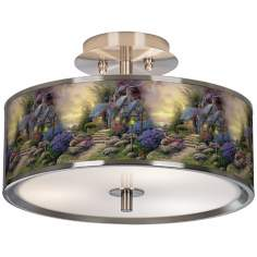 "Thomas Kinkade Seaside Hideaway 14"" Giclee Ceiling Light"