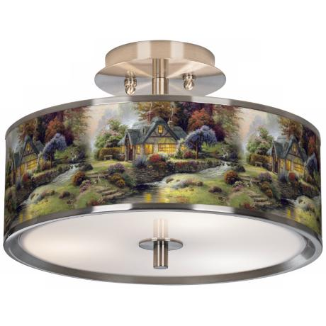"Thomas Kinkade Stillwater Cottage 14"" Giclee Ceiling Light"