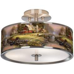 "Thomas Kinkade Sunset at Riverbend Farm 14"" Ceiling Light"