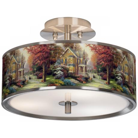 "Thomas Kinkade Victorian Autumn 14"" Wide Ceiling Light"