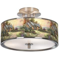 "Thomas Kinkade A Peaceful Time 14"" Wide Ceiling Light"