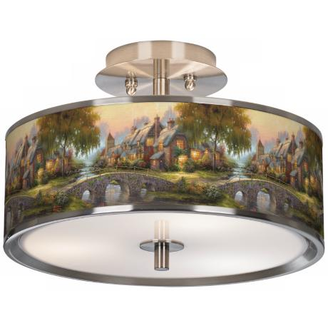 "Thomas Kinkade Cobblestone Bridge 14"" Wide Ceiling Light"