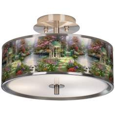 "Thomas Kinkade The Garden of Prayer 14""W Ceiling Light"