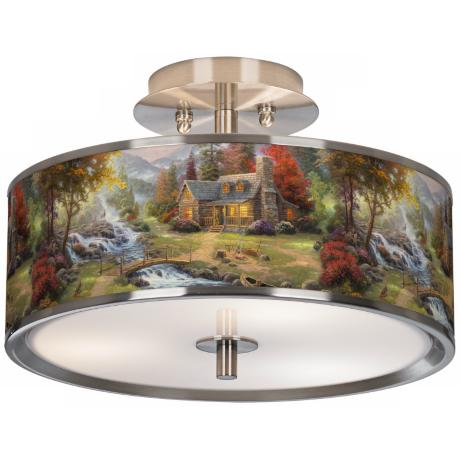 "Thomas Kinkade Mountain Paradise 14"" Wide Ceiling Light"