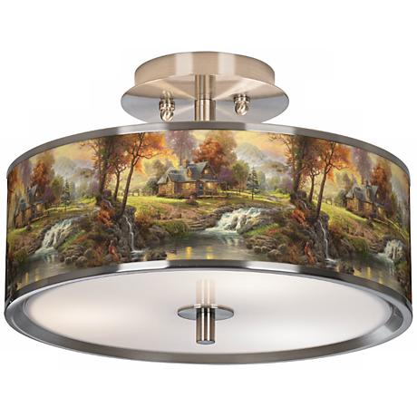 "Thomas Kinkade Mountain Retreat 14"" Wide Ceiling Light"