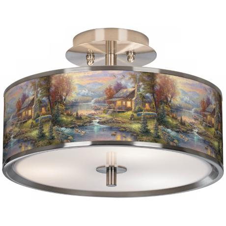 "Thomas Kinkade Nature's Paradise 14"" Wide Ceiling Light"