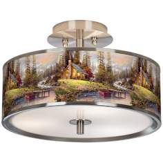 "Thomas Kinkade A Peaceful Retreat 14"" Wide Ceiling Light"