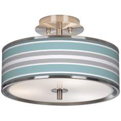 "Multi Color Stripes Glow 14"" Wide Ceiling Light"