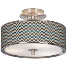 "Zig Zag Giclee Glow 14"" Wide Ceiling Light"