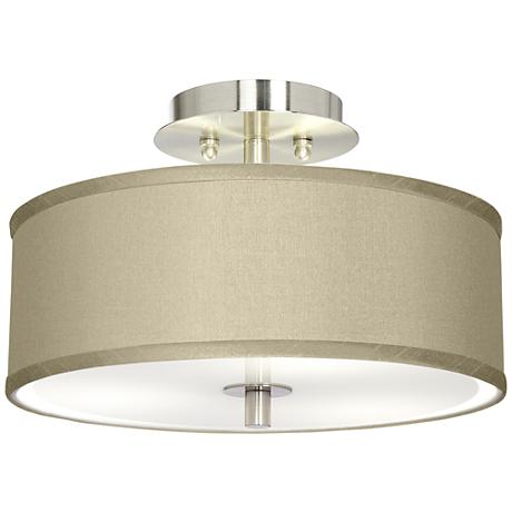 "Sesame Faux Silk 14"" Wide Ceiling Light"