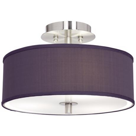 "Eggplant Textured Silk 14"" Wide Ceiling Light"