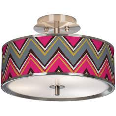 "Stacy Garcia Chevron Pride Pink 14"" Wide Ceiling Light"