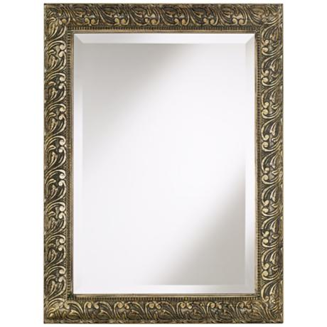 "Champagne Washed Traditional Framed 33 1/2"" High Wall Mirror"