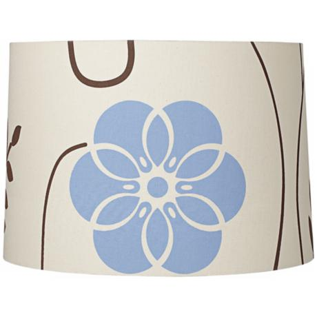 Blue and Brown Cotton Floral Lamp Shade15x16x11 (Spider)