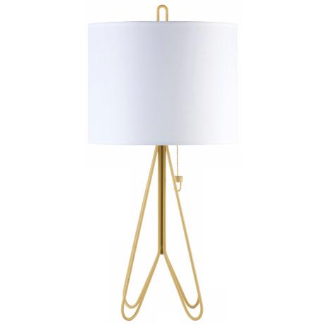 Lights Up! Flight Dark Yellow White Linen Shade Table Lamp
