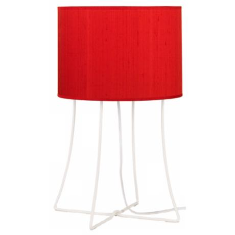 Lights Up! Virgil White Base Red Dupioni Shade Table Lamp
