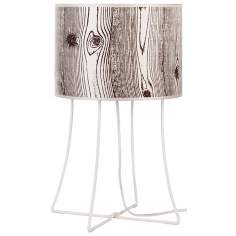 Lights Up! Virgil White Base Faux Bois Shade Table Lamp