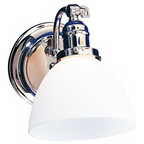 Morgan Polished Chrome White Glass Adjustable Wall Sconce